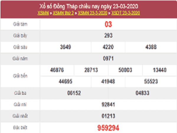 Bảng KQXSDT - Phân tích xổ số đồng tháp thứ 2 ngày 30/03