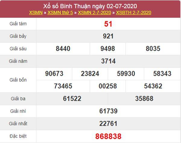 Dự đoán XSBTH 9/7/2020 chốt KQXS Bình Thuận thứ 5