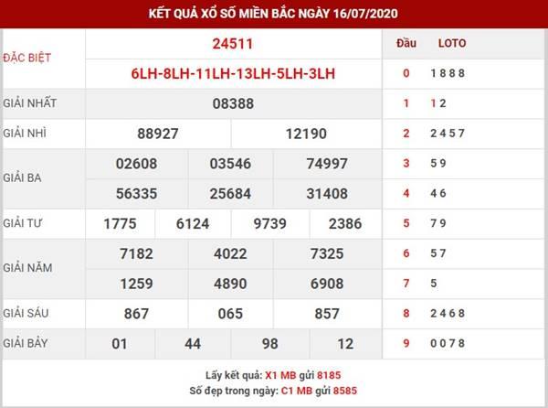 Thống kê KQXSMB thứ 6 ngày 17-7-2020