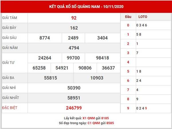 Soi cầu kết quả xổ số Quảng Nam thứ 3 ngày 17/11/2020